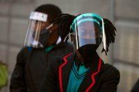 Seventh-grade students return to the Meldene Primary School in Johannesburg on June 8. (Denis Farrell/AP)