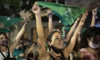 People celebrating in Córdoba, Argentina, after the passing of a bill legalising abortion, December 2020. Photograph: Daniel Bustos/Zuma Wire/Rex/Shutterstock