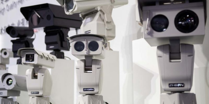 Security cameras using facial recognition technology are displayed at the 14th China International Exhibition on Public Safety and Security in Beijing. Photo by NICOLAS ASFOURI/AFP via Getty Images.