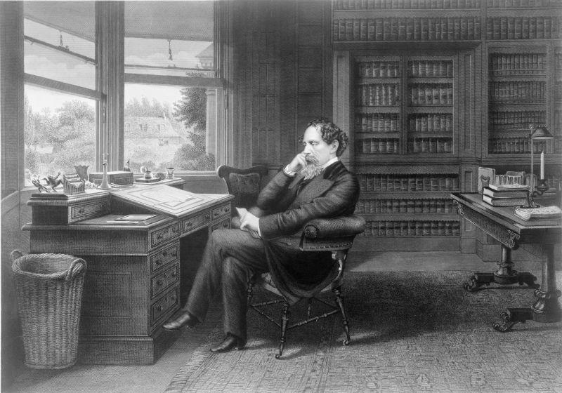 Charles Dickens en su estudio en Gads Hill Place, Inglaterra. Grabado de Samuel Hollyer, 1875. Shutterstock / Everett Collection