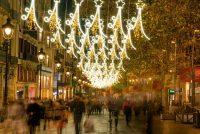 Aspecto de la Avinguda del Portal de l'Àngel de Barcelona en vísperas del día de Navidad de 2020. Shutterstock / Davide Bonaldo