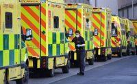 Ambulance workers outside the Royal London Hospital in London on Sunday. (Facundo Arrizabalaga/EPA-EFE/Shutterstock)