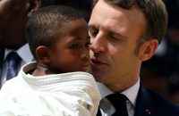 Emmanuel Macron during a 2019 visit to Ivory Coast, in which he said the mistakes of colonialism had been 'grave'. Photograph: Luc Gnago/Reuters