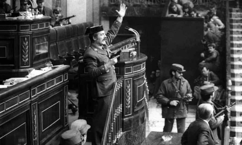 Lt Col Antonio Tejero (arm raised) during an attempted coup in the Spanish parliament on 23 February 1981. Lt Col Antonio Tejero during the attempted coup in the Spanish parliament on 23 February 1981. Photograph: Manuel Barriopedro/AP