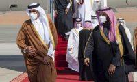 Qatar's emir, Sheikh Tamim bin Hamad al-Thani, and Saudi Arabia's crown prince, Mohammed bin Salman, in Al-Ula, Saudi Arabia, January 2021. Photograph: AP