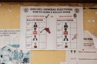An example of the ballot for the upcoming elections is displayed on a wall at the electoral commission headquarters in Kampala, Uganda. (Sumy Sadurni/AFP/Getty Images)