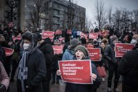 """Protesters on Saturday in Moscow with banners reading """"Freedom to Alexsei Navalny! Freedom to Russia!"""" in support of the jailed opposition leader. After years of relative calm, the country is restive. Credit Sergey Ponomarev for The New York Times"""