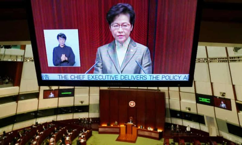 "'In 2019, Carrie Lam called protesters ""enemies of the people"". In 2020, she extended that designation to all who opposed the security law.' Photograph: Lam Yik/Reuters"