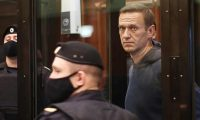 Alexei Navalny appears at Moscow city court on Tuesday. Photograph: Moscow City Court Press Service/Moscow City Court/TASS