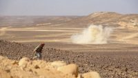 Smoke billows during clashes between forces loyal to Yemen's Saudi-backed government and Huthi rebel fighters in al-Jadaan area about 50 kilometres northwest of Marib in central Yemen on 11 February 2021. Yemen's Iran-backed Huthis rebels have resumed an AFP