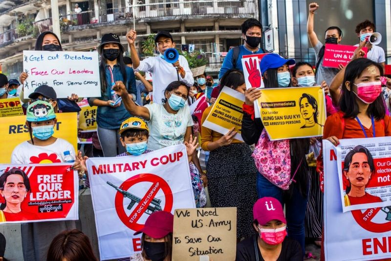 Protesters in Yangon, Myanmar, on Sunday. All are demonstrating against the military coup, but also with different hopes. Credit The New York Times