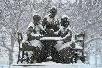 A statue of women's rights pioneers Susan B. Anthony, Elizabeth Cady Stanton and Sojourner Truth in Central Park during a snowstorm in New York City. (Timothy A. Clary/AFP/Getty Images)