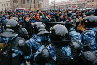 Protesters in Moscow on Sunday. This impressive display of dissent has been met, increasingly, with force. Credit Alexander Zemlianichenko/Associated Press