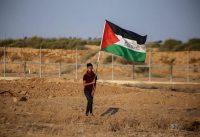 A Palestinian demonstrator at the Israel-Gaza border fence in the southern Gaza Strip. Credit Yousef Masoud/SOPA Images, via LightRocket, via Getty Images
