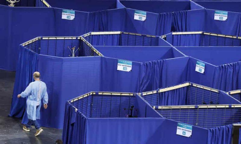 A Covid-19 vaccination centre at Saint-Quentin-en-Yvelines velodrome near Paris. Photograph: Ian Langsdon/EPA