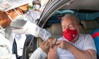 Lula da Silva receives a dose of coronavirus vaccine in Sao Bernardo do Campo last Saturday. Photograph: Reuters