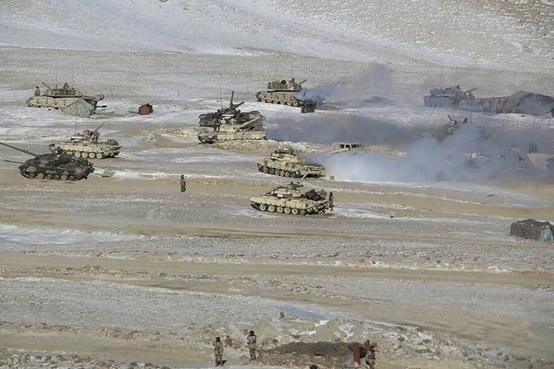 People Liberation Army soldiers and tanks are shown during military disengagement at the India-China border in Ladakh. (Indian army/AFP/Getty Images)