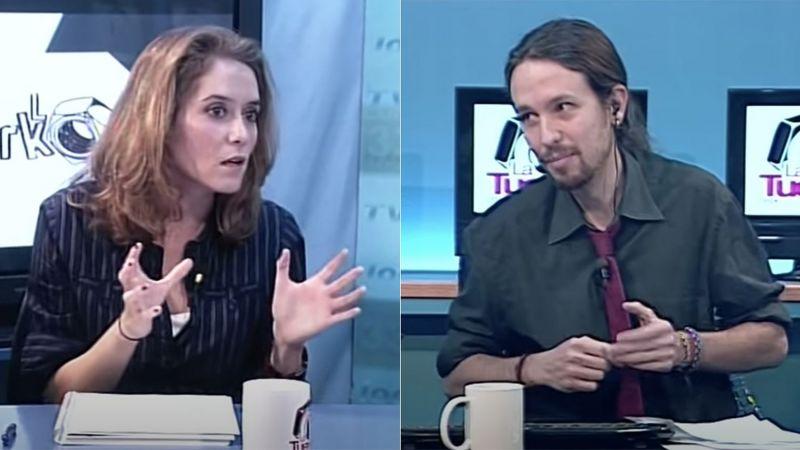 Isabel Díaz Ayuso y Pablo Iglesias en un programa de 'La Tuerka', en noviembre de 2012.La Tuerka