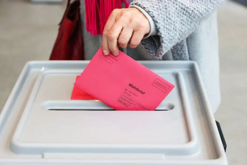 A voter casts a ballot in postal voting center in Mainz, Germany, on March 10. Voters go to the polls on March 14 for state elections in Rhineland-Palatinate and Baden-Wuerttemberg. (Alex Kraus/Bloomberg)