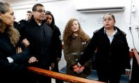 16-year-old Ahed Tamimi in the Ofer military court in the West Bank village of Betunia, January 2018. Photograph: Ahmad Gharabli/AFP/Getty Images