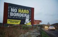 A 'no hard border' poster is pictured on the Irish border in Newry in Northern Ireland. (Aidan Crawley/EPA-EFE/REX/Shutterstock)