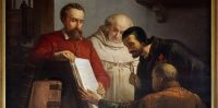 Plantin muestra un ejemplar de la Biblia Regia a Arias Montano (Jos Bellemans) Museum Plantin-Moretus