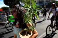 Una mujer lleva una planta de marihuana durante una marcha por la plena regularización del cannabis, en Ciudad de México, el 9 de marzo de 2021. (Carlos Ramirez/EPA-EFE/Shutterstock)