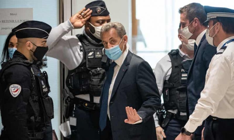 Former French president Nicolas Sarkozy arriving at court in Paris, 1 March 2021. Photograph: Xinhua/Rex/Shutterstock