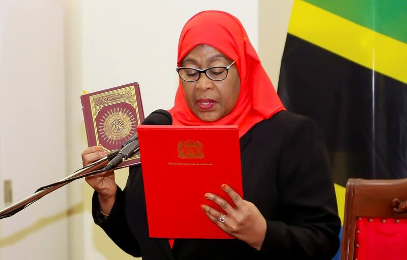 Samia Suluhu Hassan takes oath of office on March 19 to become the president of Tanzania. (Reuters)