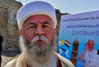 An elder member of the Yazidi community at the square near the ruins of the Syriac Catholic Church of the Immaculate Conception (al-Tahira-l-Kubra), in the old city of Mosul in Iraq on March 7. (Zaid Al-Obeidi/AFP/Getty Images)