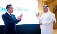 China's foreign minister, Wang Yi, and UAE's foreign minister, Abdullah Bin Zayed Al Nahyan, at talks for the Hayat-Vax vaccine in Abu Dhabi, United Arab Emirates, 28 March 2021. Photograph: WAM/Reuters