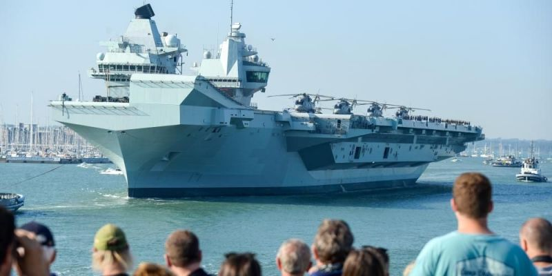 HMS Queen Elizabeth departs from the Naval base on September 21, 2020 in Portsmouth, England. Photo by Finnbarr Webster/Getty Images.