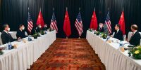 The opening session of US-China talks in Anchorage, Alaska on 18 March 2021.