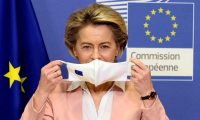 'Thus far, the EU's response to Covid has chalked up one great success and one great failure.' European commission president Ursula von der Leyen. Photograph: Johanna Geron/Reuters