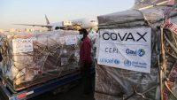 First badge of AstraZeneca/Oxford coronavirus (COVID-19) vaccines, are being unloaded from a plane upon arrival at Khartoum International Airport in Sudan on 3 March 2021. Anadolu Agency/Mahmoud Hjaj