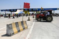 Farmers in Haryana, India, blocked part of an expressway on April 10 in protest of agricultural reform laws. (Sajjad Hussain/AFP/Getty Images)