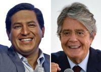 A la izquierda, Andrés Arauz, el candidato correísta, y a la derecha, el candidato conservador Guillermo Lasso. Ambos se disputan la presidencia en la segunda vuelta electoral. Credit Rodrigo Buendia/Agence France-Presse — Getty Images