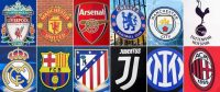 This combination of photos shows the logos of the following European soccer clubs: (top from left) Liverpool, Manchester United, Arsenal, Chelsea, Manchester City and Tottenham Hotspur; (bottom from left) Real Madrid, Barcelona, Atletico Madrid, Juventus, Inter Milan and AC Milan. (Pierre-Philippe Marcou/AFP/Getty Images)