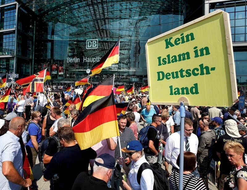 Supporters of the Alternative for Germany party assemble in Berlin on May 27, 2018. (Michael Sohn/AP)
