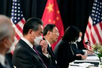 Chinese Communist Party diplomat Yang Jiechi speaks at the U.S.-China talks in Anchorage on March 18. (Frederic J. Brown/AP)