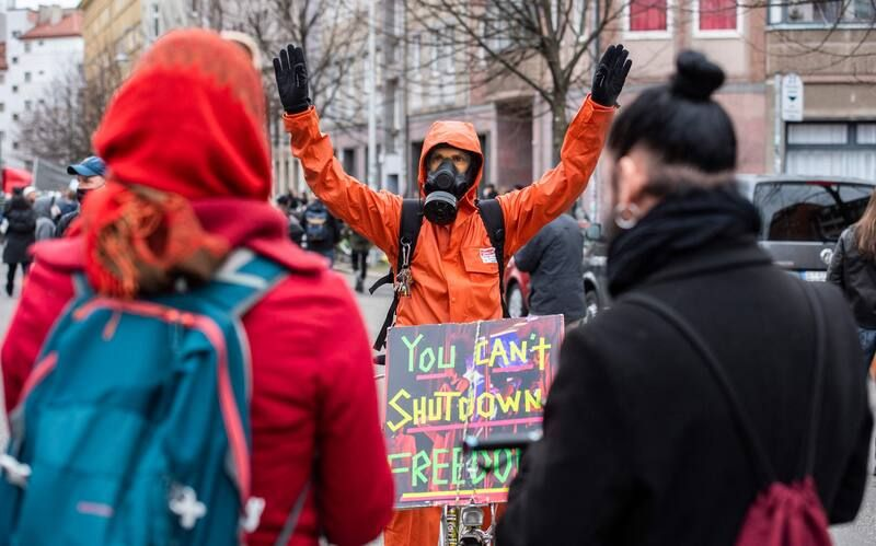 A demonstrator in Berlin protests anti-coronavirus measures on March 28. (John MacDougall/AFP/Getty Images)