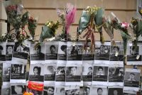 A memorial to to protestors killed during protests in Myanmar are displayed outside the Myanmar Embassy in London on April 8. (Ben Stansall/AFP via Getty Images)