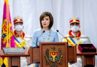 Moldovan President Maia Sandu delivers a speech during her inauguration ceremony in Chisinau, Moldova, on Dec. 24. (Reuters)