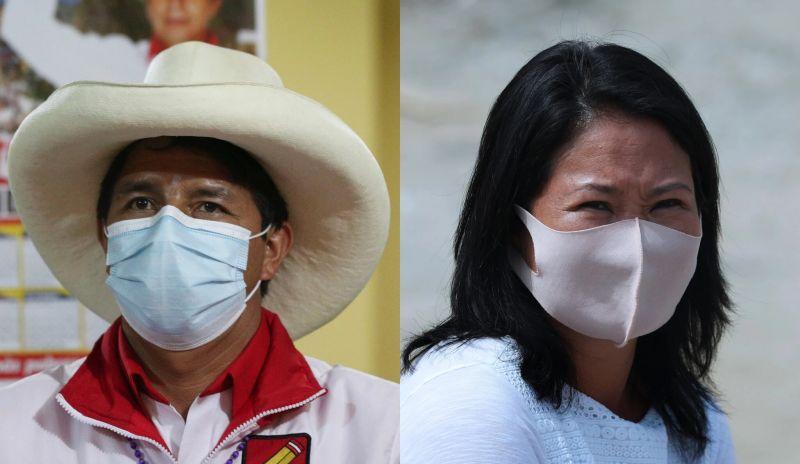 A la izquierda, Pedro Castillo, ganador de la primera vuelta de las elecciones presidenciales de Perú. A la derecha, Keiko Fujimori, quien quedó en segundo lugar en las votaciones. Ambos candidatos se enfrentarán en la segunda vuelta. Credit Martin Mejia/Associated Press