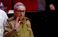 Raúl Castro waves as the 8th Congress of the Cuban Communist Party ends in Havana on April 19. (Ariel Ley/AFP/Getty Images)