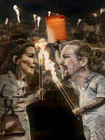 Rocío Monasterio y Pablo Iglesias en la taberna de 'El Jabalí'