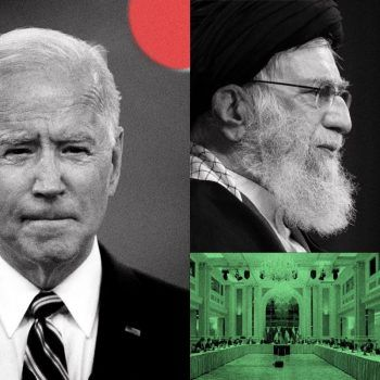 Illustration by Jim Datz, The New York Times. Photographs: President Joe Biden by Doug Mills, The New York Times.  Ayatollah Ali Khamenei by Agence France-Presse/Getty Images. European Union delegation in Vienna by Getty Images.
