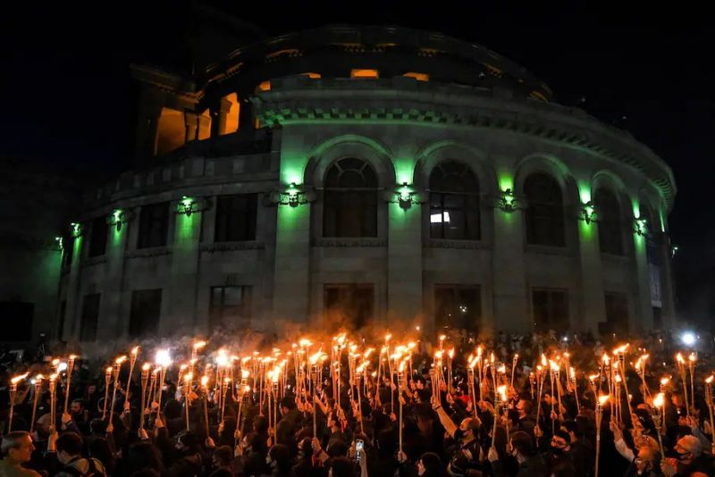 Armenians take part in a torchlight procession in Yerevan on April 23 to mark the 106th anniversary of World War I-era mass killings. (Karen Minasyan/AFP) (Afp Contributor#afp/AFP/Getty Images)