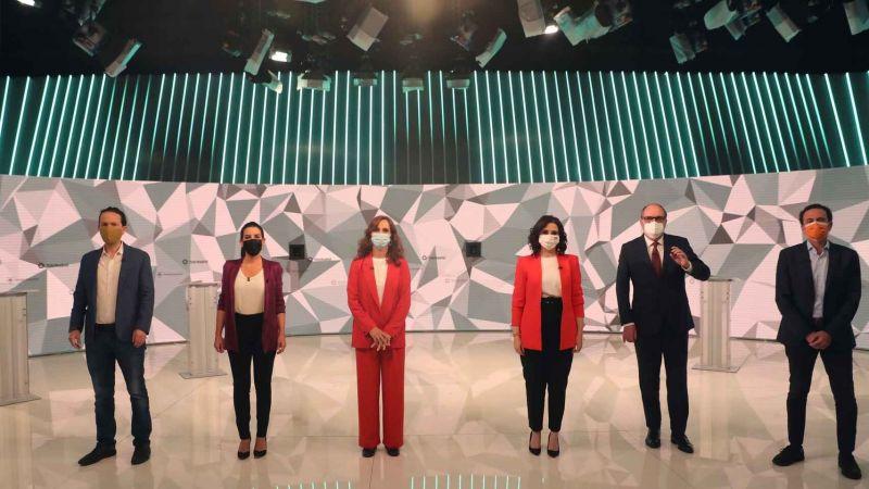 Los seis candidatos, antes de empezar el debate en TeleMadrid.