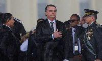 Jair Bolsonaro at an Army Day ceremony in Brasília. Photograph: Adriano Machado/Reuters